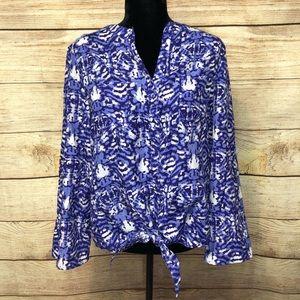 Westbound Tie Shirt w/ lace embellishments